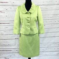 Tahari ASL Petite Women's 2PC Skirt Suit Blazer Buttons Green Quilted size 6P