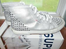 Superga Silver Lame Studded High Top Sneakers Size 10 Shoes in original box