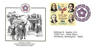TONGA 1976 FIRST DAY COVER AMERICAN BICENTENNIAL WILLIAM HOOPER, WILLIAM FLOYD