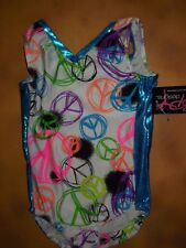 NWT BP Designs Gymnastic Peace Sign Print Tank Leotard Turquoise Foil Youth Med