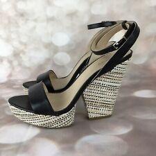 XHILARATION Women's Black Platform Heel Sandals Ankle Strap Open Toe Size 8