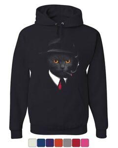 Secret Agent Cat Hoodie Detective Kitty Funny Spy Cigar Pet Sweatshirt