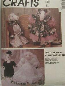 "VTG McCALLS 4665 Stuffed 18"" Pig Dolls & Clothes/Wardrobe/Bride & Groom PATTERN"