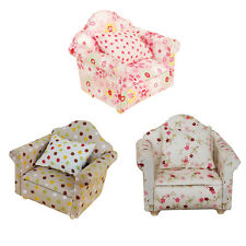 1:12 Dollhouse Furniture Set Miniature Living Room Floral Sofa Couch + Cushion