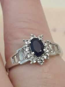 Blue Spinel and Natural Zircon Cluster Ring Size N Sterling Silver Engagement