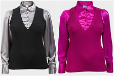 New Women's Elegant Long Sleeved 2in1 Blouse Sweater Grey Pink Plus Sizes
