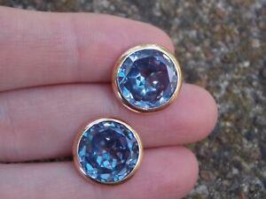 14k Yellow/Rose Gold Cufflinks w Cut Alexandrite Stones Purple Blue