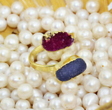 H6778 Sale Natural Purple & Blue Agate Druzy Gold Plated Adjustable Ring Jewelry