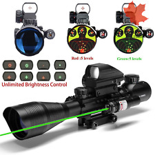 C4-12X50 Dual Illuminated Reticle W Green RED Laser Sight and 4 Tactical Holo...