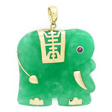 Carved Green Jade Elephant Pendant in 14k Yellow Gold