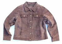 Women's Vintage EXXESS Brown 100% Genuine Leather Jacket Coat Size XL