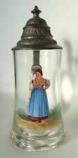 Antique German Beer Stein Enameled Bohemian Glass with Painting of a Woman