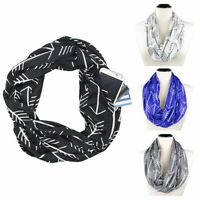 Convertible Infinity Scarf With Pocket Loop Scarf Women Winter Zipper Pocket US