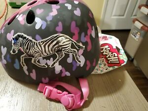 Krash Bike And Skate Helmet! Ages 8+! Size Youth! Bicycle Helmet! Zebra/hearts