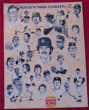 1978 New York Yankees Burger King World Champions Baseball Poster