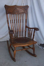 Antique Pressed Back Rocking Chair Rocker with tall back
