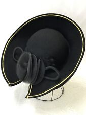 Vtg Women's Hat Sailor Kentucky Derby Church Black Gold Feather Bow Boater Small