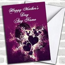Corazones púrpura y Remolinos El Dia De La Madre Tarjeta Personalizada