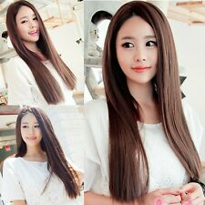 Hot Fashion Long Brown Hair Straight Full Wigs Cosplay Party/Daily Wear No Bangs