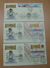 Set of 3 First Day Covers Melaka 750 all 07 Oct cancels - Pos Malaysia envelope