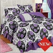 3PC Twin Katie Comforter Set Purple Flowers Polka Dots Girls Floral Bedroom