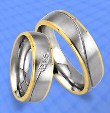 2 Trauringe Eheringe mit 3 Steine GOLD Platiert  JE20-3