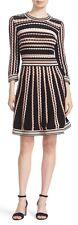 Kate Spade New York Black Multi Scallop Stripe Knit Sweater Dress Size XL