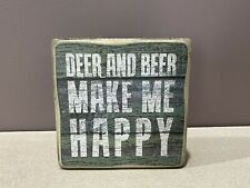 Deer And Beer Make Me Happy Wooden Sign