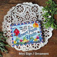 Nana Papa Ornament MINI SIGN Cute Grandparents Gift Cottage Chic USA New in Pkg