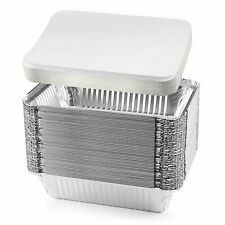 NYHI 50-Pack Heavy Duty Disposable Aluminum Oblong Foil Pans with Lid Covers...