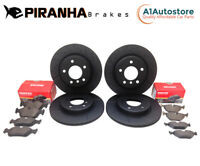VW Scirocco 2.0TDi 2.0TSi 14-18 Front Rear Brake Discs Pads Coated Black Piranha