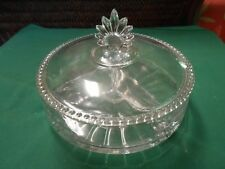 Beautiful Vintage 3 Section Glass Divided  CANDY / NUT Dish