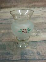 Bartlette Collins Frosted Bud Vase - Vintage Hand Painted Red Floral Design