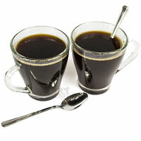 Set Of 6 Hollywood 275ml Latte Glasses With Spoons Small Tea Coffee Mugs Cups