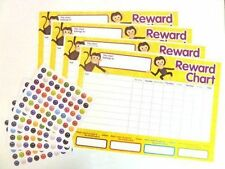 4 X Cheeky Monkey Design Reward Chart & 252 Stickers Charts Complete Set