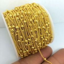 DIY cadena cuentas soldadas dorado 1metro sin níquel Fornituras abalorios