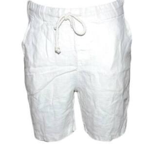 Pantaloncini Lino Uomo Casual Pantalone Corto Bermuda Bianco Tasca America Chius