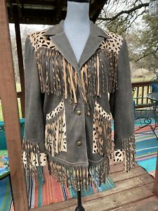 New Double D Ranch Cheetah Chic Leather Jacket Small