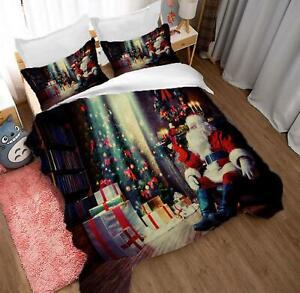 3D Santa Gift A293 Christmas Quilt Duvet Cover Xmas Bed Pillowcases Zoe