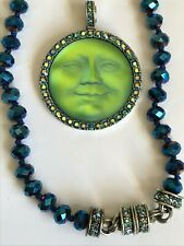 Kirks Folly Seaview Moon magnetic pendant with blue necklace silvertone
