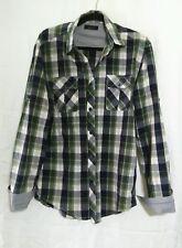 ZARA MAN Plaid Button Down Shirt Size M Green/Blue/White
