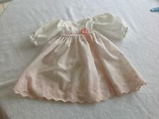 Vintage Handmade Doll Dress Off White Long Sleeve Embroidered Floral