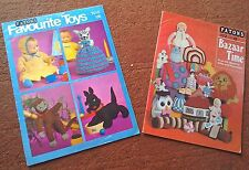 VINTAGE RETRO BAZAAR & FAVOURITE TOYS KNITTING PATTERN BOOKLETS x 2