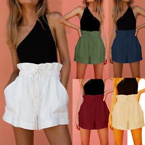 Womens Paperbag Shorts Cotton Linen High Waisted Pocket Casual Pants Summer