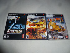 PLAYSTATION 2 PS2 VIDEO GAME LOT OF 3 GAMES FLATOUT 2 STUNTMAN IGNITION RACING >