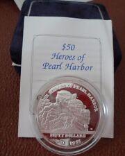 1941-1991 Pearl Harbour MARESCIALLO ISOLE D'Argento a Prova Di $50 Cinquanta DOLLARI MONETA Nuovo di zecca