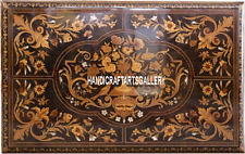 4'x2' Pietra Dura Brown Side Dining Table Top Marquetry Work Inlaid Garden H3347