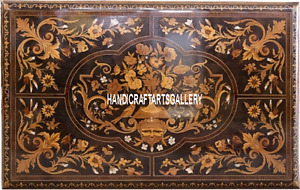4'x2' Brown Marble Dining Table Top Pietra Dura Inlay Art Handmade Decors H3347