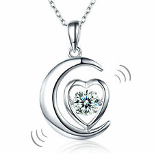 Dancing Stone Moon Heart Pendant Necklace 925 Sterling Silver FN8056