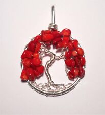 Tree of Life Pendant ~ Red Coral Foliage ~ Lovely Gift ~ Hand Crafted ~ 4.5cm